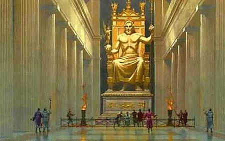 La colosal estatua de Zeus en Olimpia, obra de Fidias (s. V aC.)